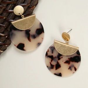 Marble and Gold Statement Earrings